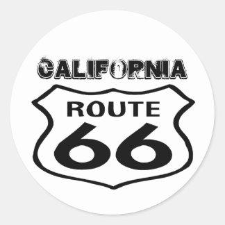 Vintage Route 66 Versleten Lk Staat Californië van Ronde Stickers