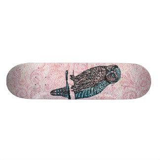 Vintage Roze Blauwe Leuke Uil 21,6 Cm Old School Skateboard Deck