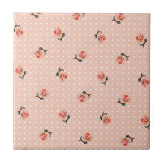 Vintage roze bloemen en stip keramisch tegeltje