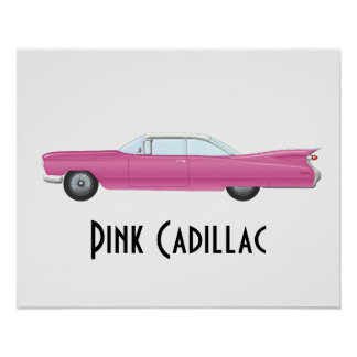 Vintage Roze Cadillac Poster