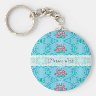 Vintage Roze en Blauw Behang met Naam Sleutelhanger