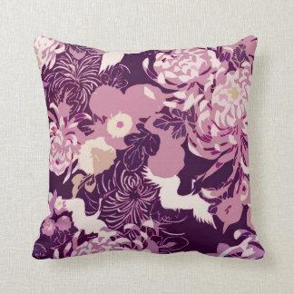 Vintage Roze paarse bloemen en vogels PLdesign Sierkussen