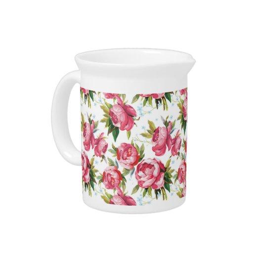 Vintage roze rozen bloemenpatroon pitcher