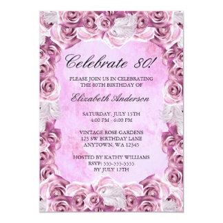 Vintage Roze Rozen en de Verjaardag van de Veer 12,7x17,8 Uitnodiging Kaart