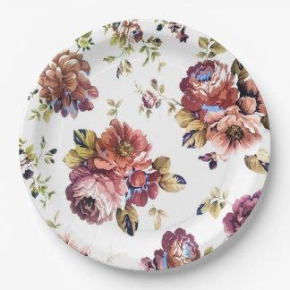 Vintage rozen op document borden papieren bordje