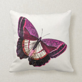 Vintage Rozerode Vlinder 1896 Lege Sjabloon Sierkussen