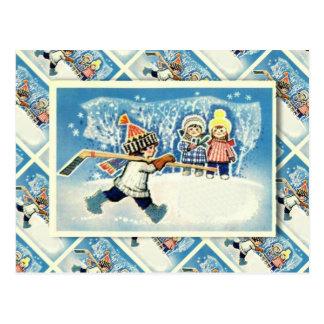 Vintage Russische Kerstmis, ijshockeyspeler Briefkaart