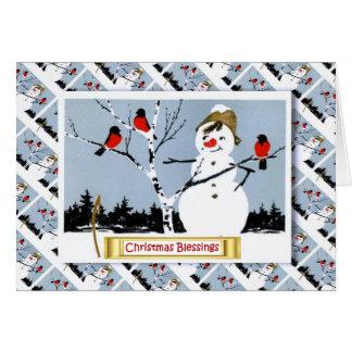 Vintage Russische Kerstmis, Sneeuwman en robins Kaart