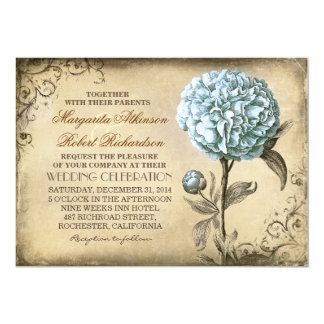 vintage rustieke huwelijksuitnodiging met blauwe 12,7x17,8 uitnodiging kaart