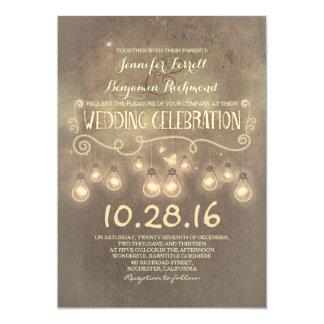 Vintage rustieke huwelijksuitnodiging met lichten 12,7x17,8 uitnodiging kaart