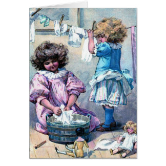 Vintage schilderende meisjes die de dag van de kaart