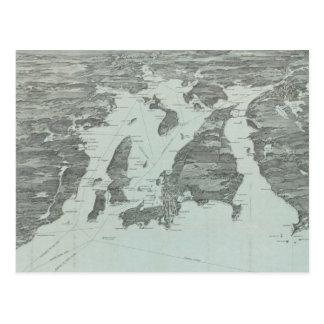 Vintage SchilderKaart van Baai Narragansett (1907) Briefkaart