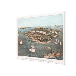 Vintage SchilderKaart van Fort Monroe Virginia Canvas Afdrukken