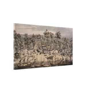 Vintage SchilderKaart van Sacramento (1850) Canvas Print