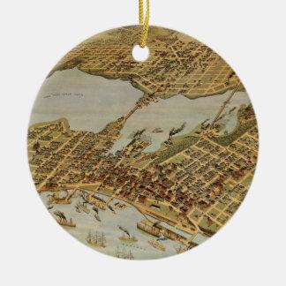 Vintage SchilderKaart van Vancouver BC (1898) Rond Keramisch Ornament