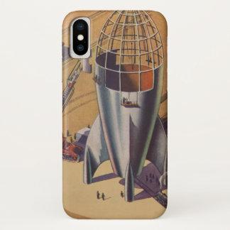 Vintage Science fiction, Sci Fi, die een Raket iPhone X Hoesje