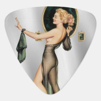 Vintage Sexy Blonde Pinup in Zuiver Zwart Zilver Plectrum