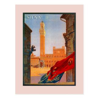 Vintage Siena Italiaanse adverterene reis Briefkaart
