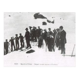 Vintage Ski, de les van de Ski voor jonge mensen Briefkaart
