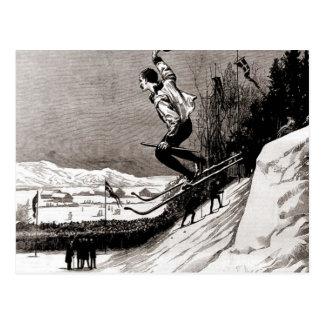 Vintage skiafbeelding, die naar de afwerking briefkaart