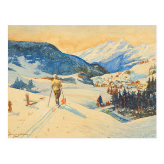 Vintage skiafbeelding, Dwarsland in de bergen Briefkaart