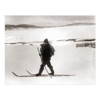 Vintage skiafbeelding, het Dwarsland ski?en Briefkaart