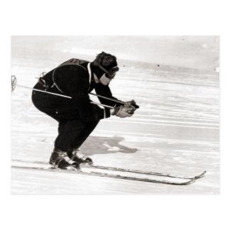 Vintage skiafbeelding, Ras voor de afwerking Briefkaart