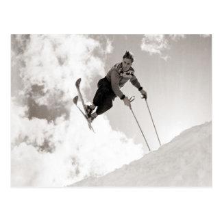 Vintage skiafbeelding, Trucs op skis Briefkaart
