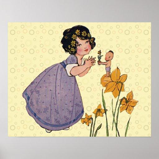 Vintage SPRITE van de Fee en Gele narcissen