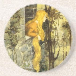 Vintage Sprookje, Rapunzel met het Lange Haar van Zandsteen Onderzetter