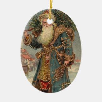 Vintage St. Nicholas Keramisch Ovaal Ornament