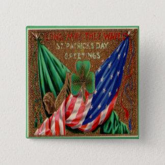 Vintage St Patricks Dag 12 Vierkante Button 5,1 Cm