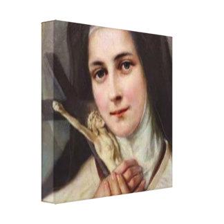 Vintage St.Therese Weinig Kruisbeeld van de Bloem Canvas Afdrukken
