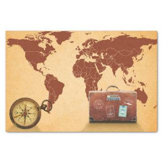 Vintage Stijl, Kaart van de Druk van de Wereld Tissuepapier