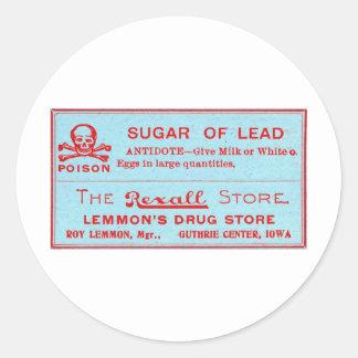Vintage Suiker van het Etiket van het Vergift van Ronde Stickers