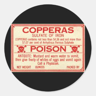Vintage Sulfaat Copperas van het Etiket van het Ronde Stickers