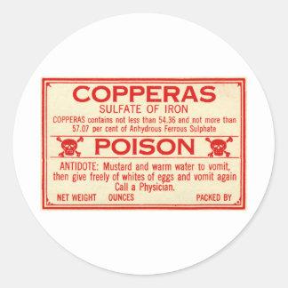 Vintage Sulfaat Copperas van het Etiket van het Ronde Sticker