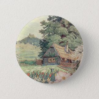 Vintage Tekening: Het kleine Plattelandshuisje van Ronde Button 5,7 Cm