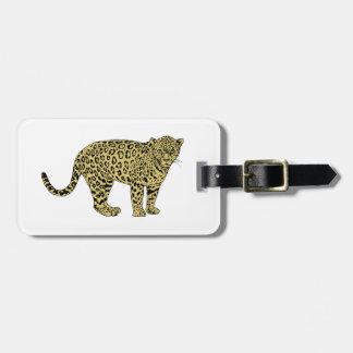 Vintage Tekening van de Kat van de Luipaard de Kofferlabel