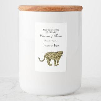 Vintage Tekening van de Kat van de Luipaard de Voedselcontainer Etiket