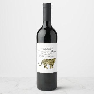 Vintage Tekening van de Kat van de Luipaard de Wijnetiket