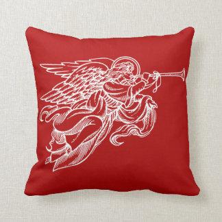 Vintage tekening van engel op het rode hoofdkussen sierkussen