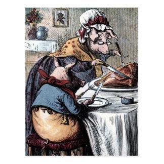 Vintage Tekening: Weinig Piggy die Ham eten Briefkaart