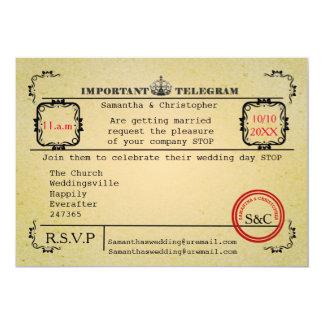 Vintage telegramhuwelijk kaart