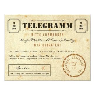Vintage Telegramm Save the Date Kaart