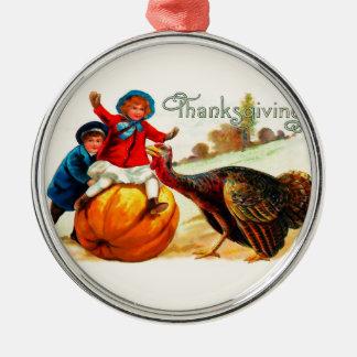 Vintage Thanksgiving Zilverkleurig Rond Ornament