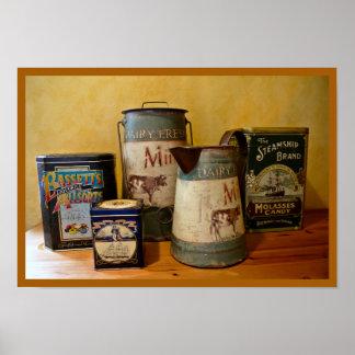 Vintage Tin en Kruiken Poster