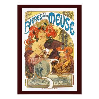 Vintage Uitnodiging La Meuse van Bieres DE door