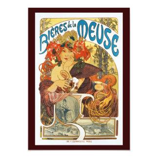 Vintage Uitnodiging:  La Meuse van Bieres DE door 12,7x17,8 Uitnodiging Kaart