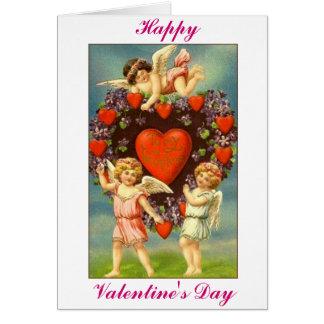 Vintage Valentijn 3 Cupido's en Rode harten Wenskaart